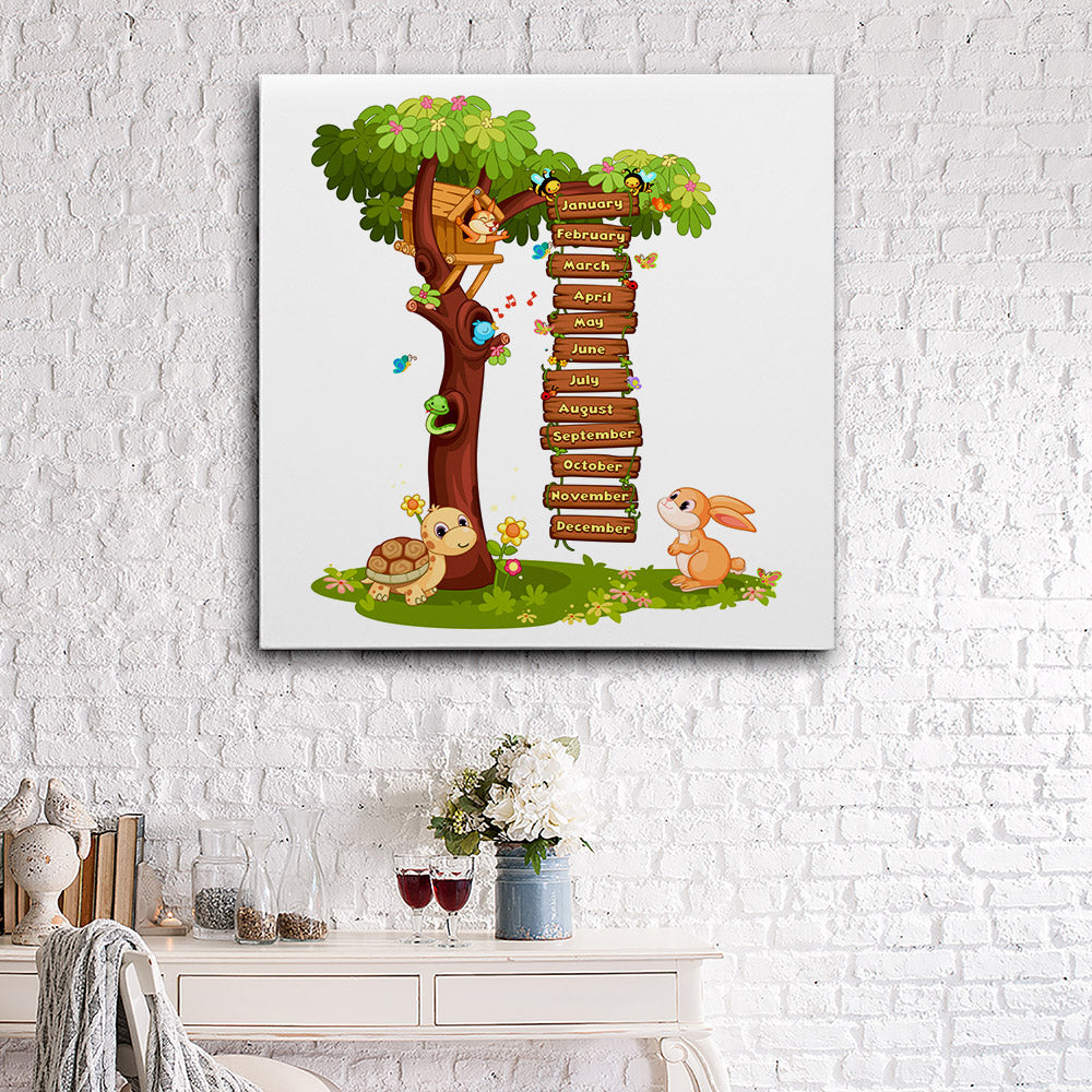 Animals Trees Birds Canvas Wall Art