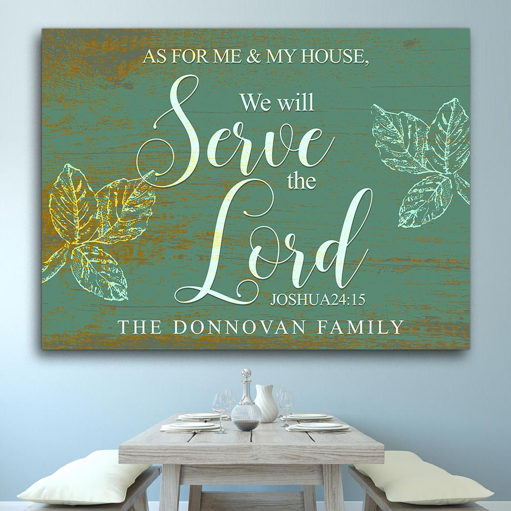 We Will Serve The Lord Personalized Canvas Wall Art
