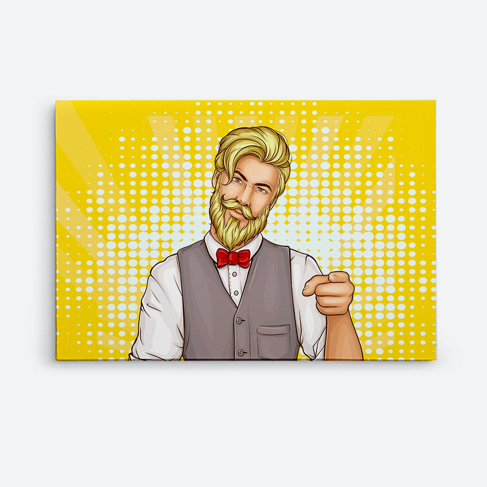 Attractive Hipster Man Canvas Wall Art