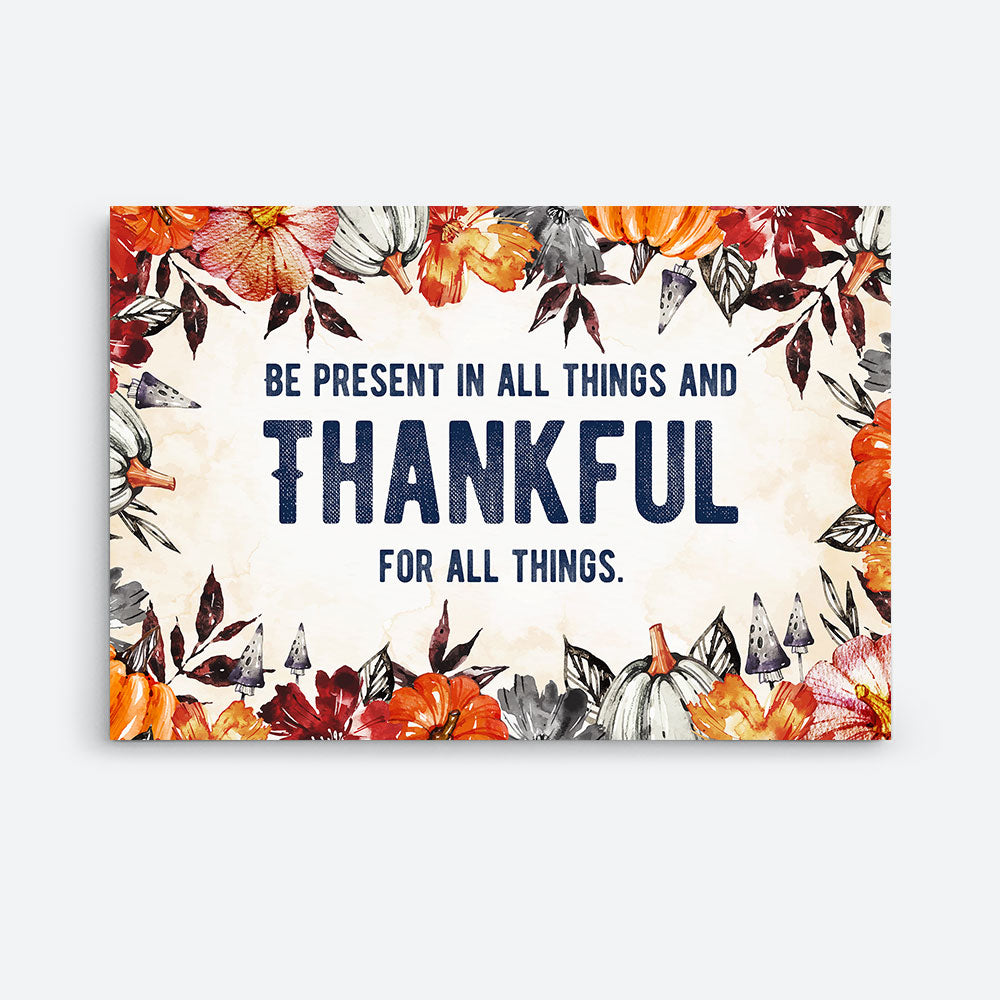 Thankful for All Things Quotes Canvas Wall Art