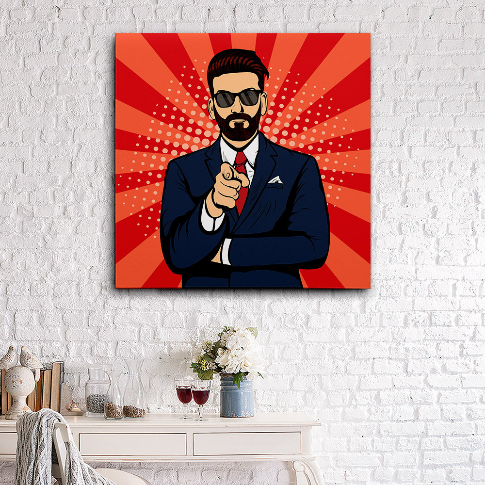 Bearded Hipster Businessman Canvas Wall Art