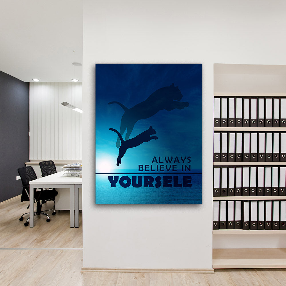 Believe In Yourself Motivational Inspirational Canvas Wall Art