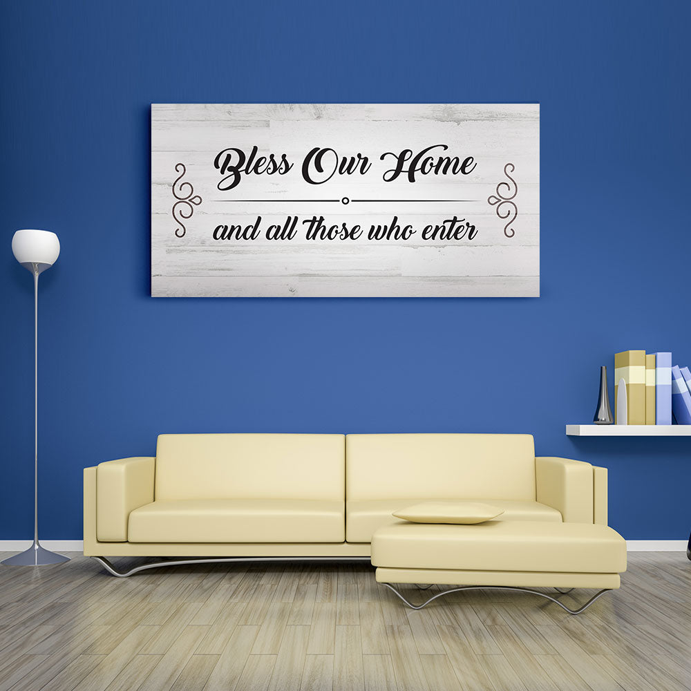 Bless Our Home and All Those Who Enter Canvas Wall Art