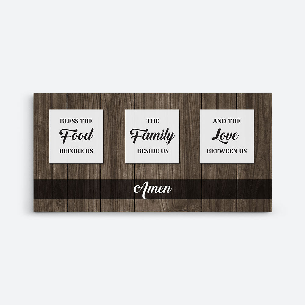 Bless the Food, Family, and Love Canvas Wall Art