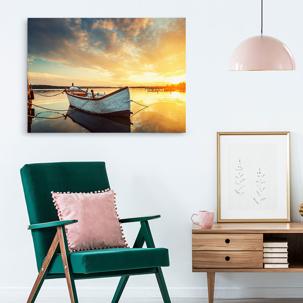 Boat on Lake with Sunset Nature Canvas Wall Art