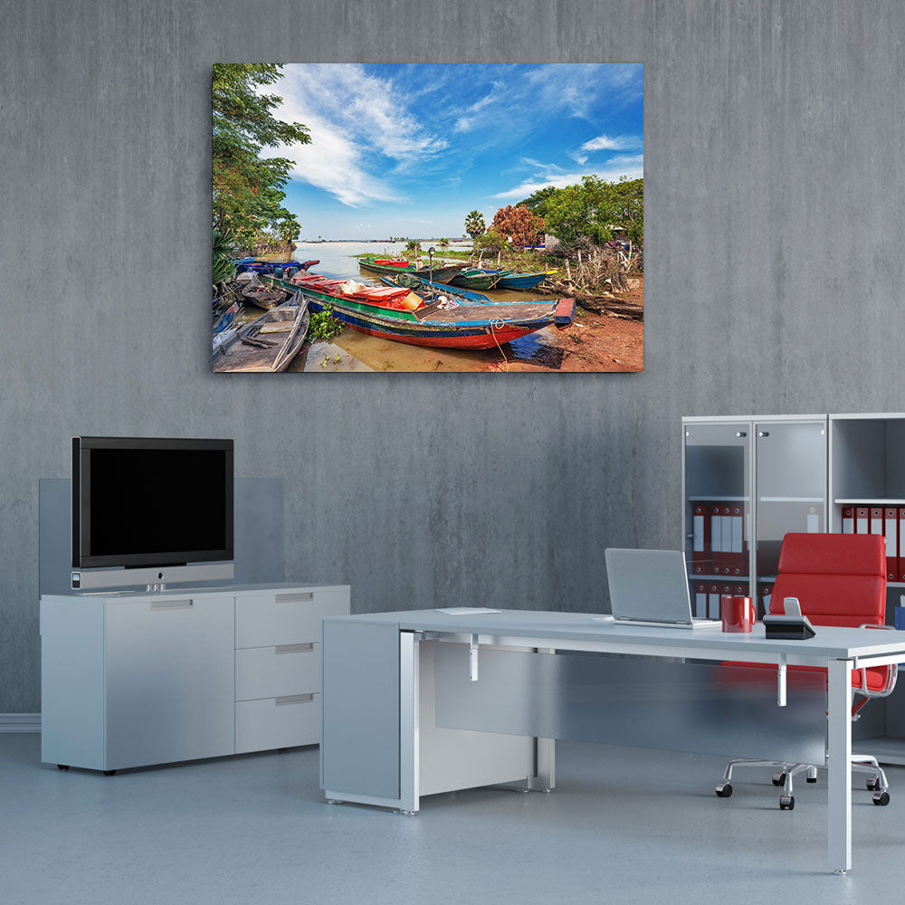 Boats in the Lake Nature Canvas Wall Art