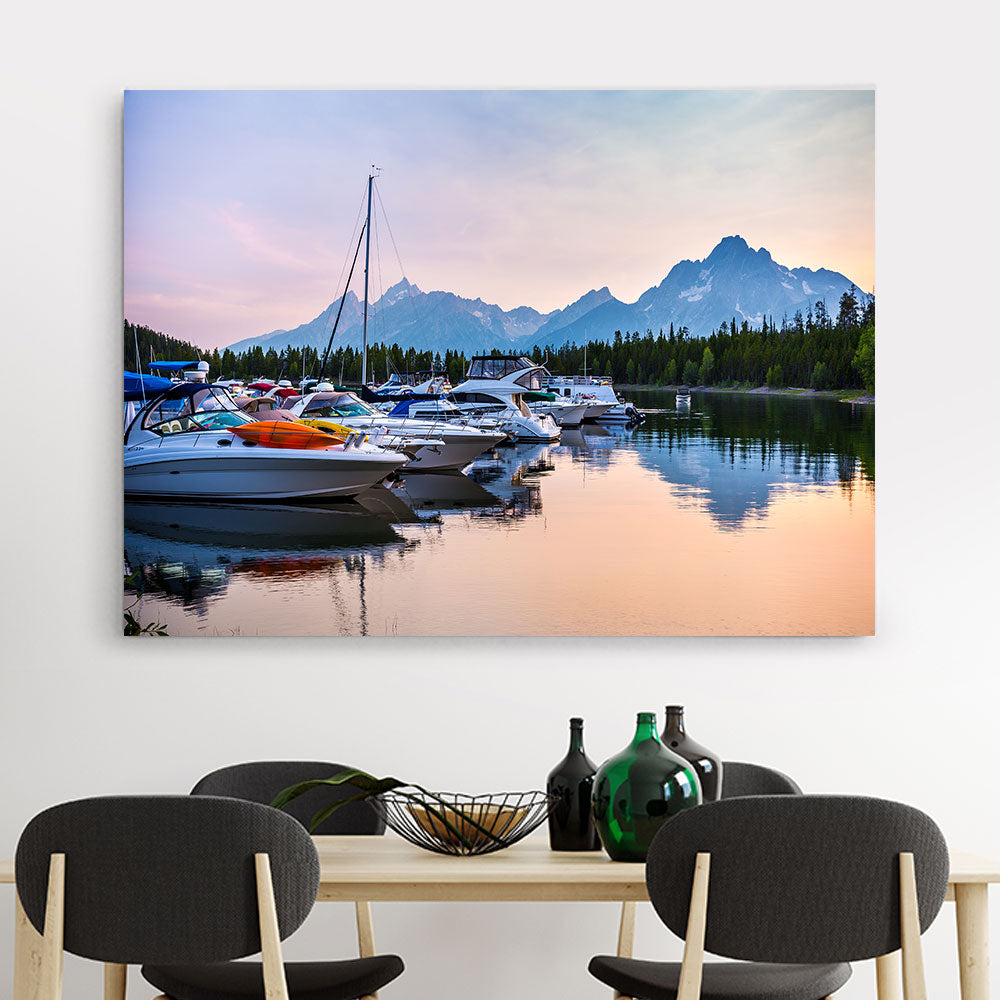 Boat on Lake with Sunset Nature Canvas Wall Art v2