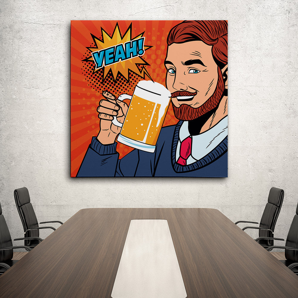 Businessman Pop Art Canvas Wall Art