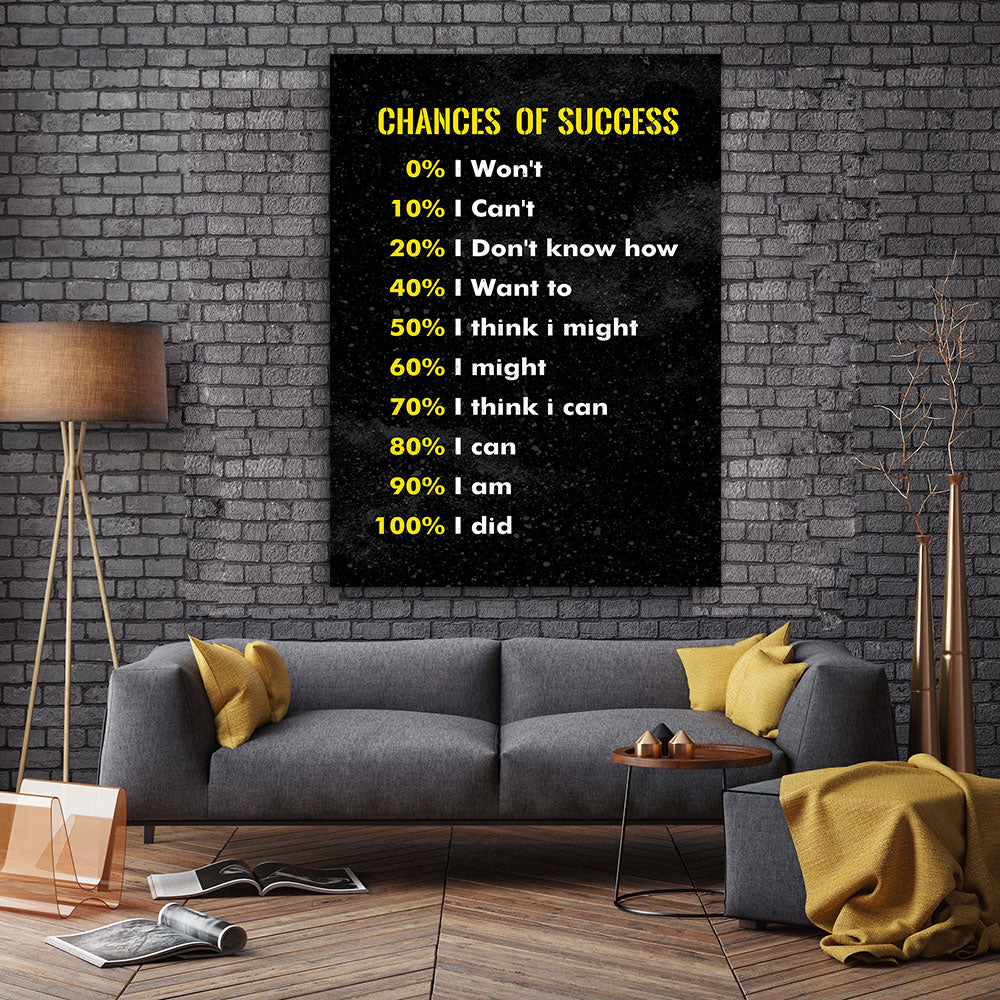 Chances of Success Canvas Wall Art for your Home or Office. Motivational, inspirational and modern canvas wall art for your Home or Office.