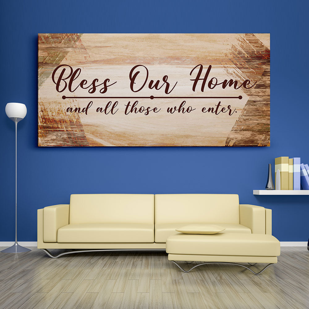Decorate your walls with Bless Our Home Christian Wall Art, canvas prints from Makemyprints!