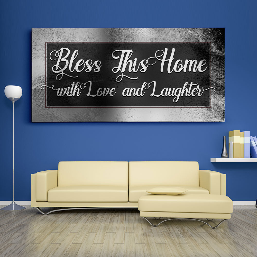 Decorate your walls with Bless This Home With Love Christian Wall Art, canvas prints from Makemyprints!