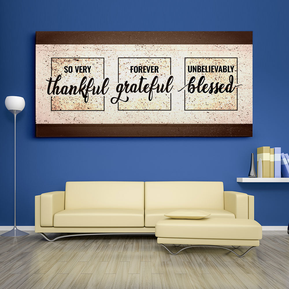 Decorate your walls with So Very Thankful Christian Wall Art, canvas prints from Makemyprints!