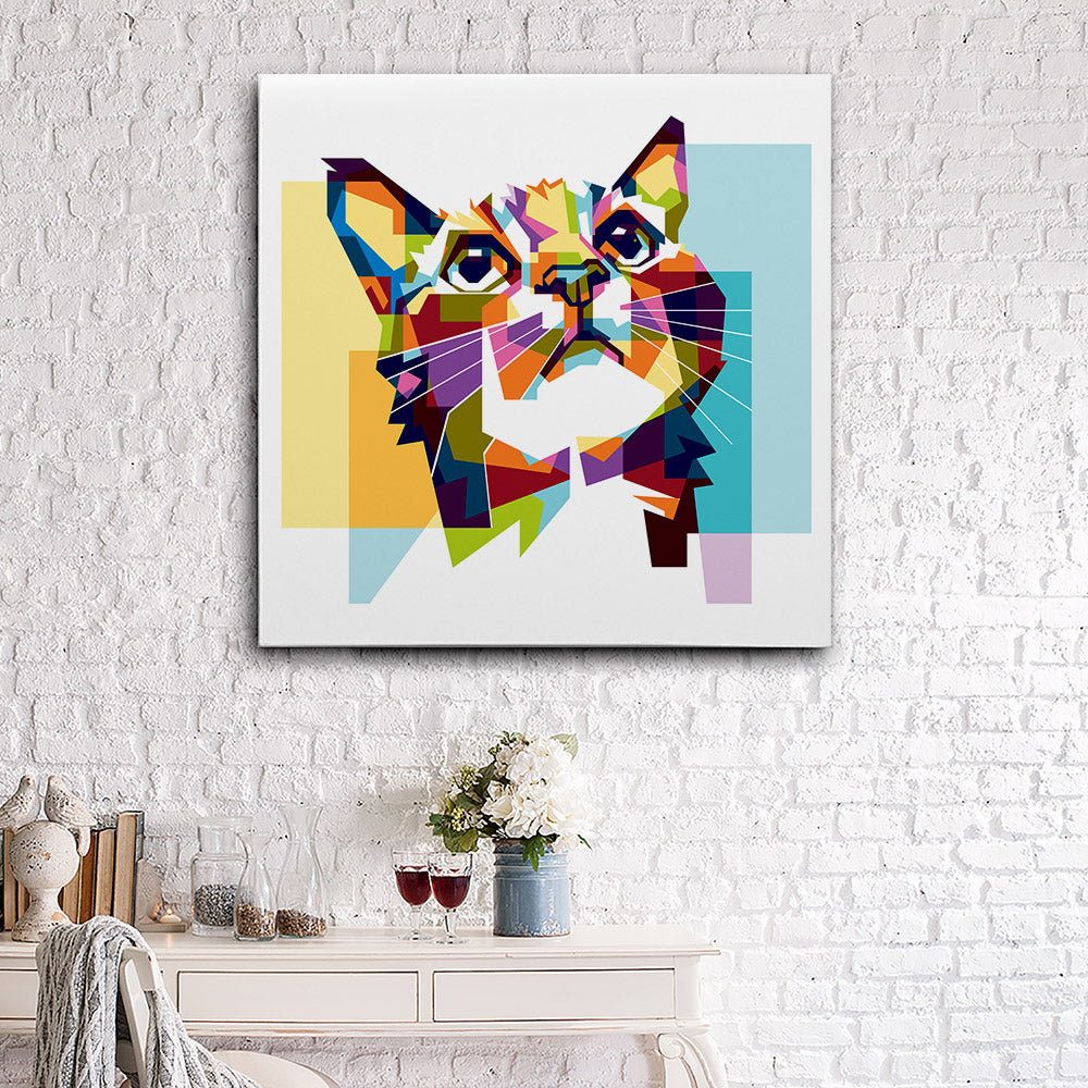 Colorful Cat Canvas Wall Art