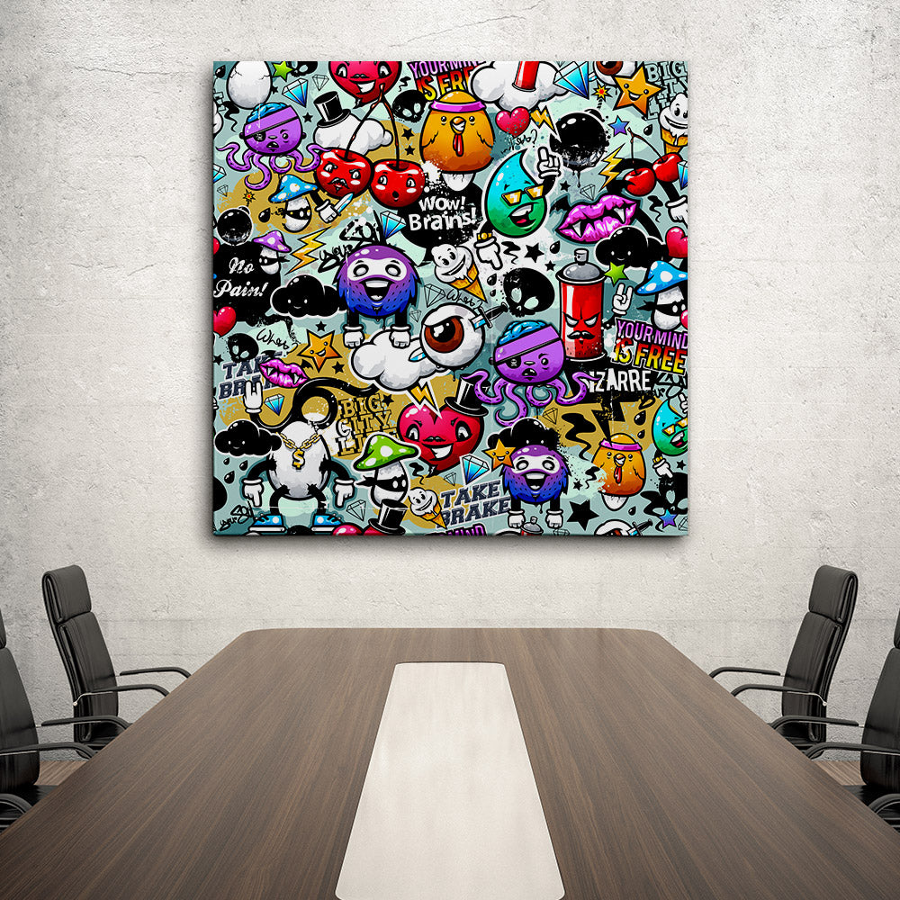 Coloured Graffiti Canvas Wall Art
