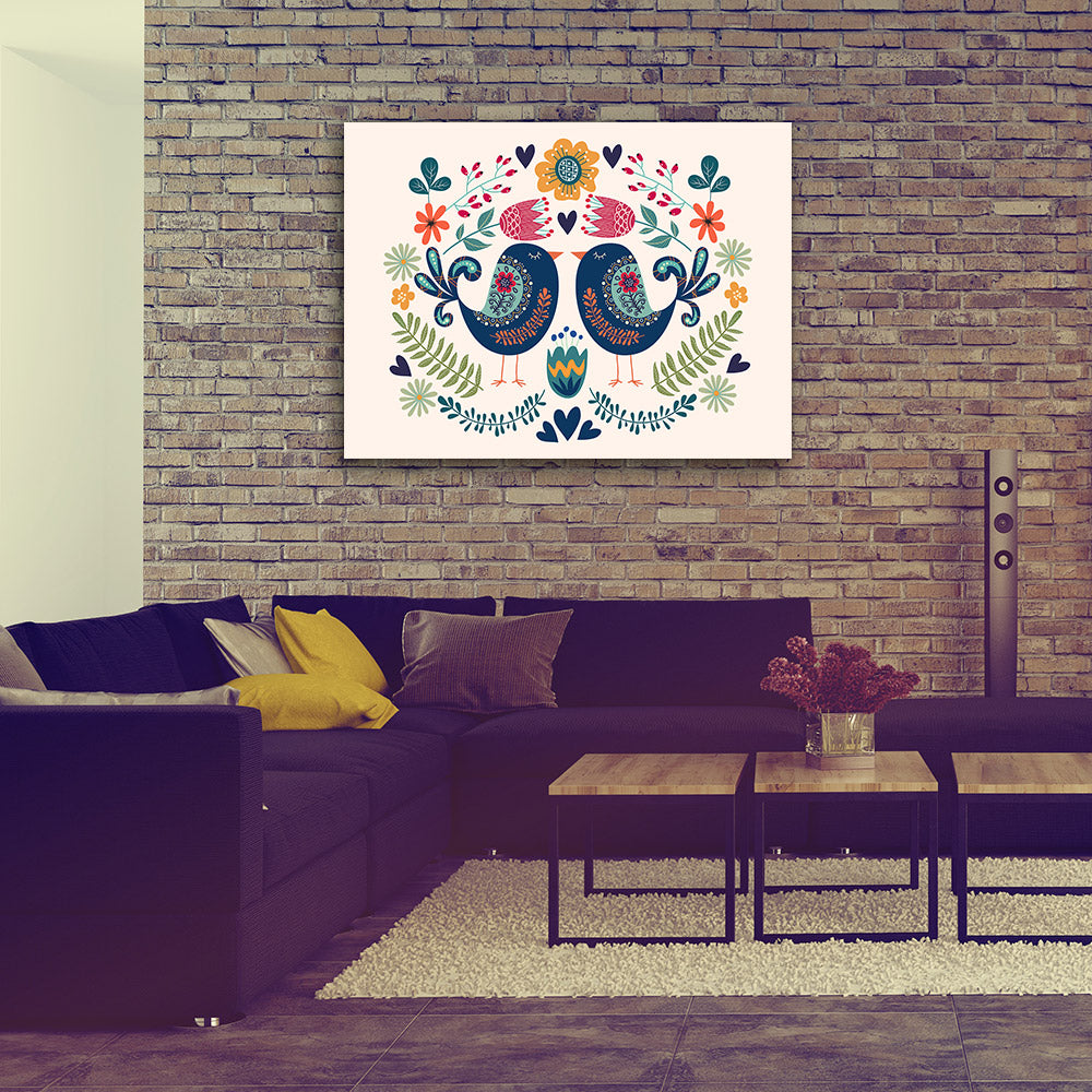Couple Bird Flowers Folk Design Canvas Wall Art