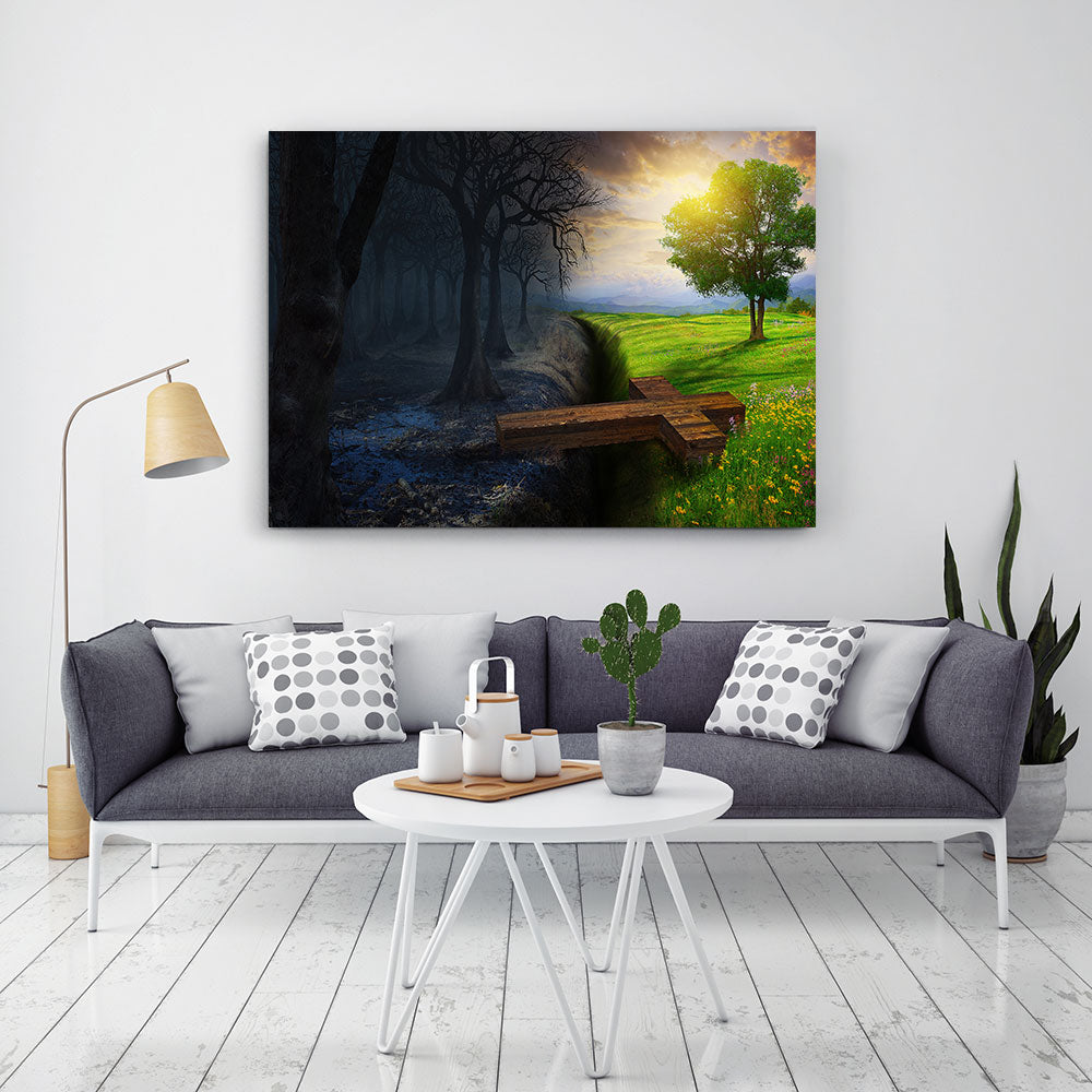 Cross Bridges Dead Forest Nature Canvas Wall Art