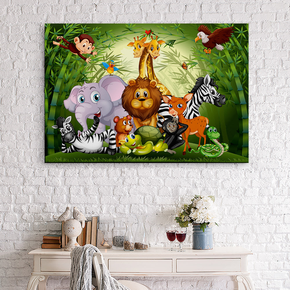 Cute Animals Bamboo Forest Canvas Wall Art