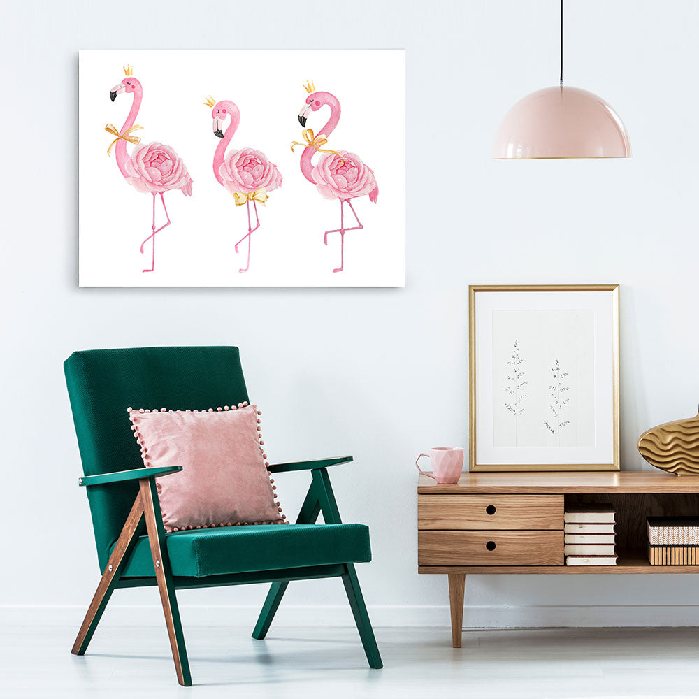 Cute Flamingo With Crown Ribbon Canvas Wall Art