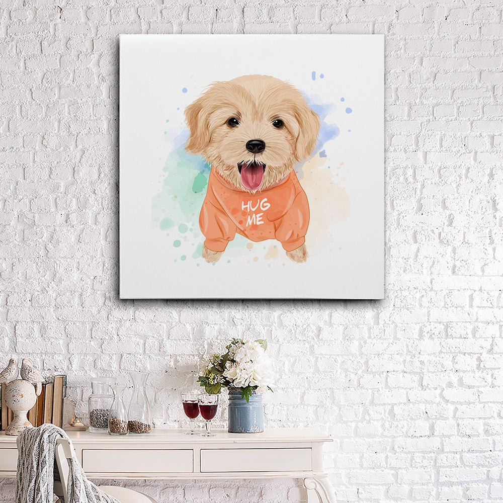 Cute Golden Retriever Watercolor Canvas Wall Art