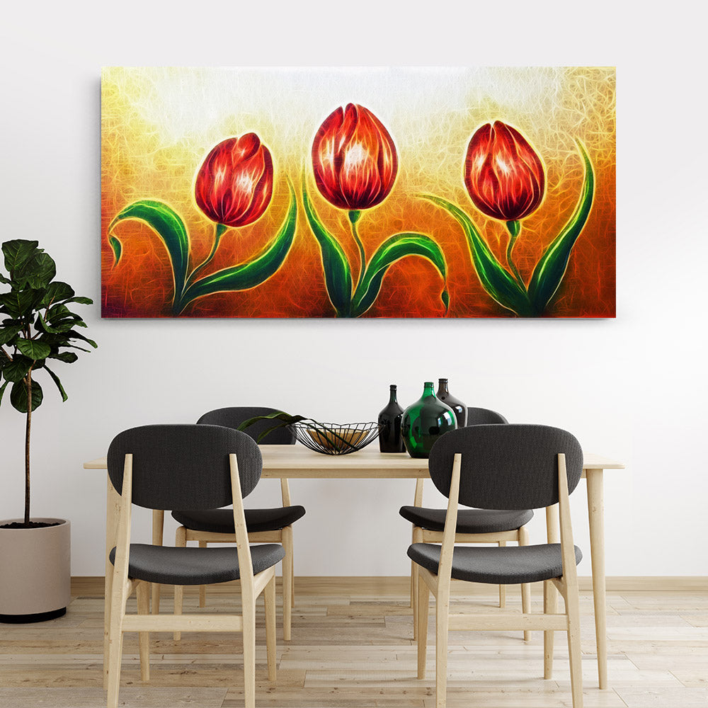 Dancing Tulip Flower Canvas Wall Art