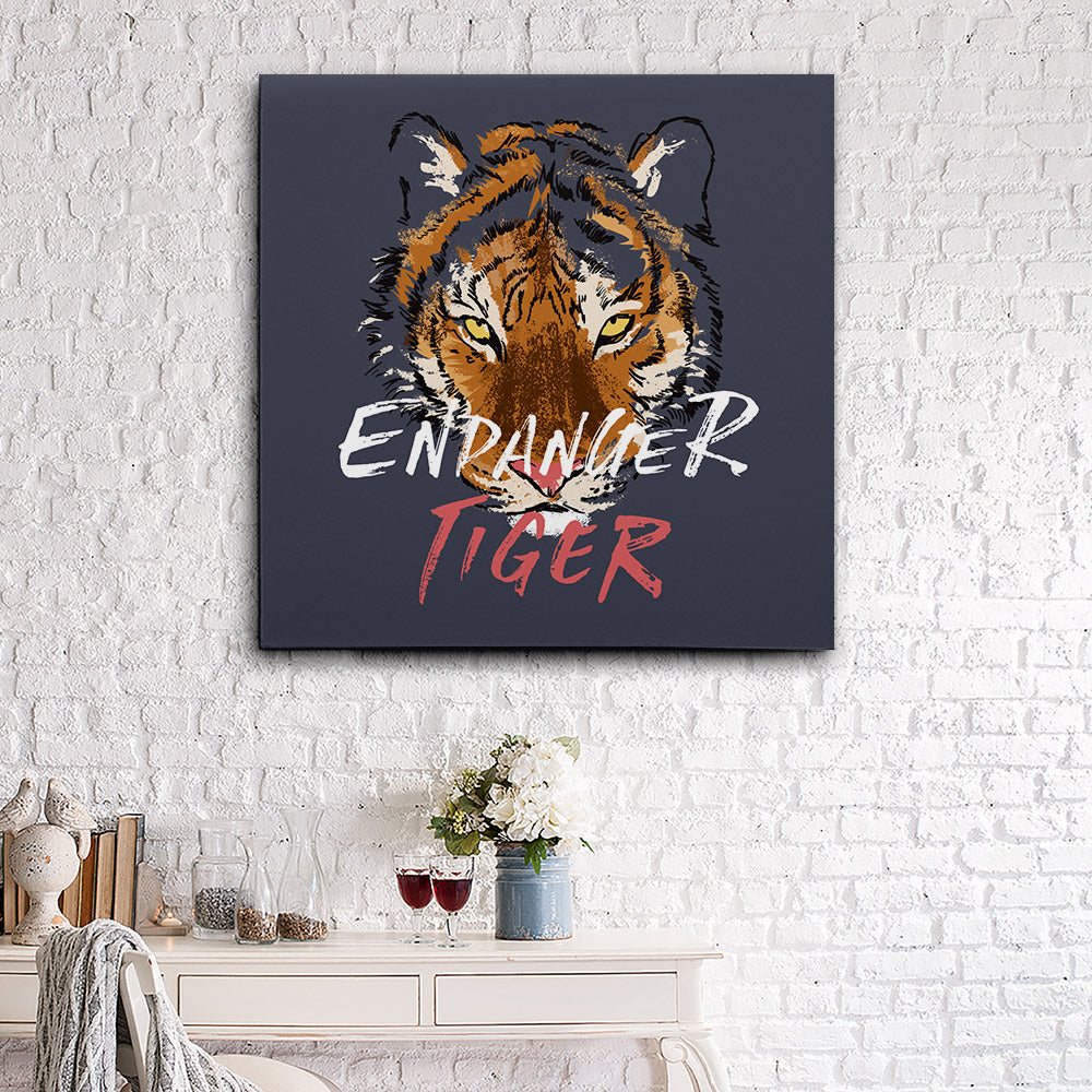 Danger Slogan With Tiger Canvas Wall Art