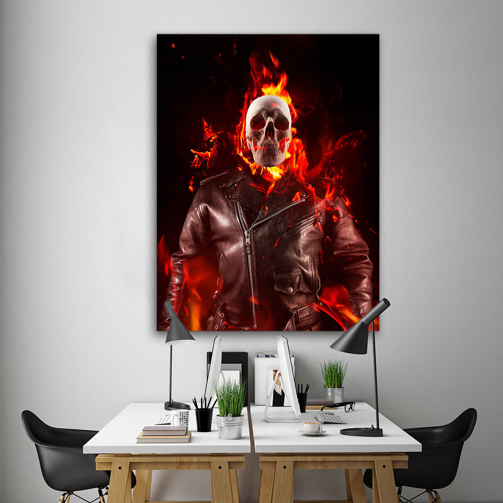 Demon Skeleton Fire Abstract Canvas Wall Art