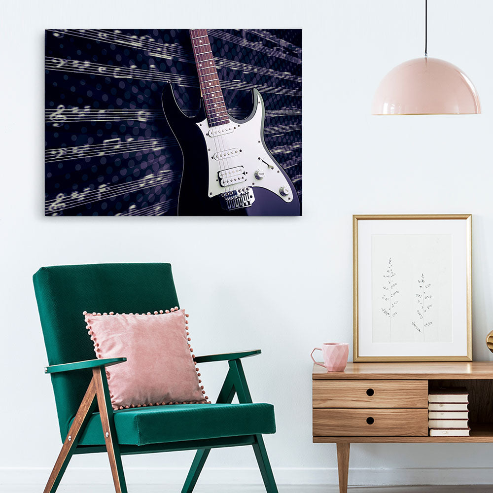 Electric Guitar Abstract Canvas Wall Art