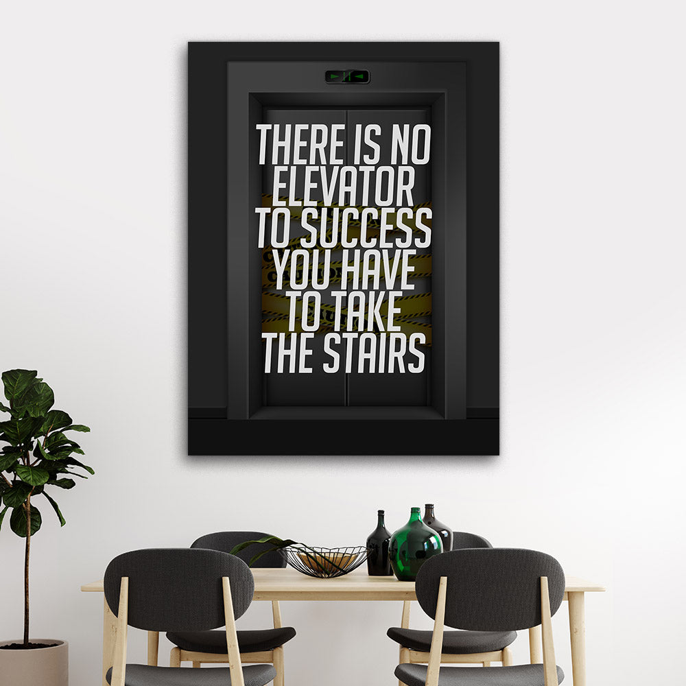 Elevator To Success Motivational Inspirational Canvas Wall Art