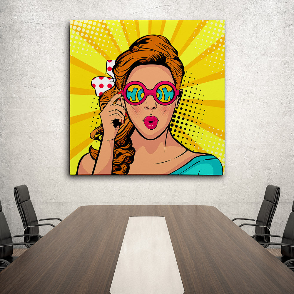 Face Surprised Woman Canvas Wall Art