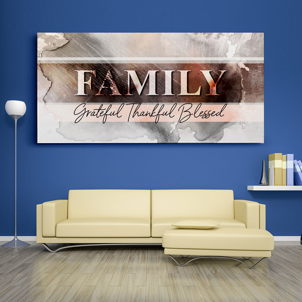 Family Grateful Thankful Blessed Christian Wall Art v2