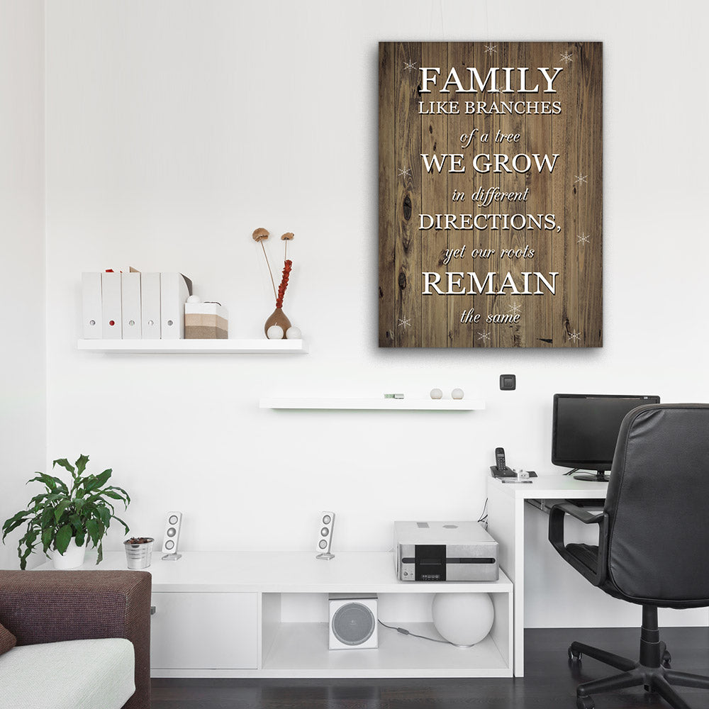 Family Like Branches of a Tree Canvas Wall Art for your Home or Office. Motivational, inspirational and modern canvas wall art for your Home or Office.