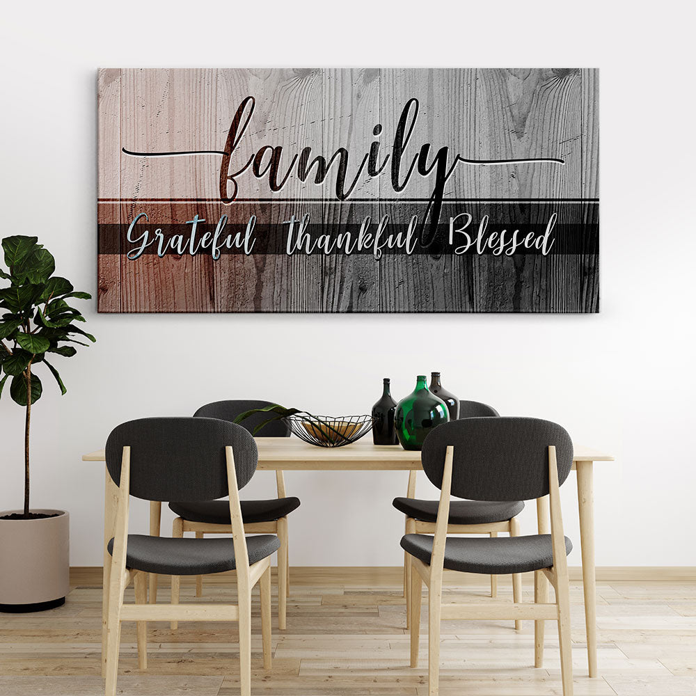 Decorate your walls with Family Grateful Thankful Blessed Christian Wall Art, canvas prints from Makemyprints!