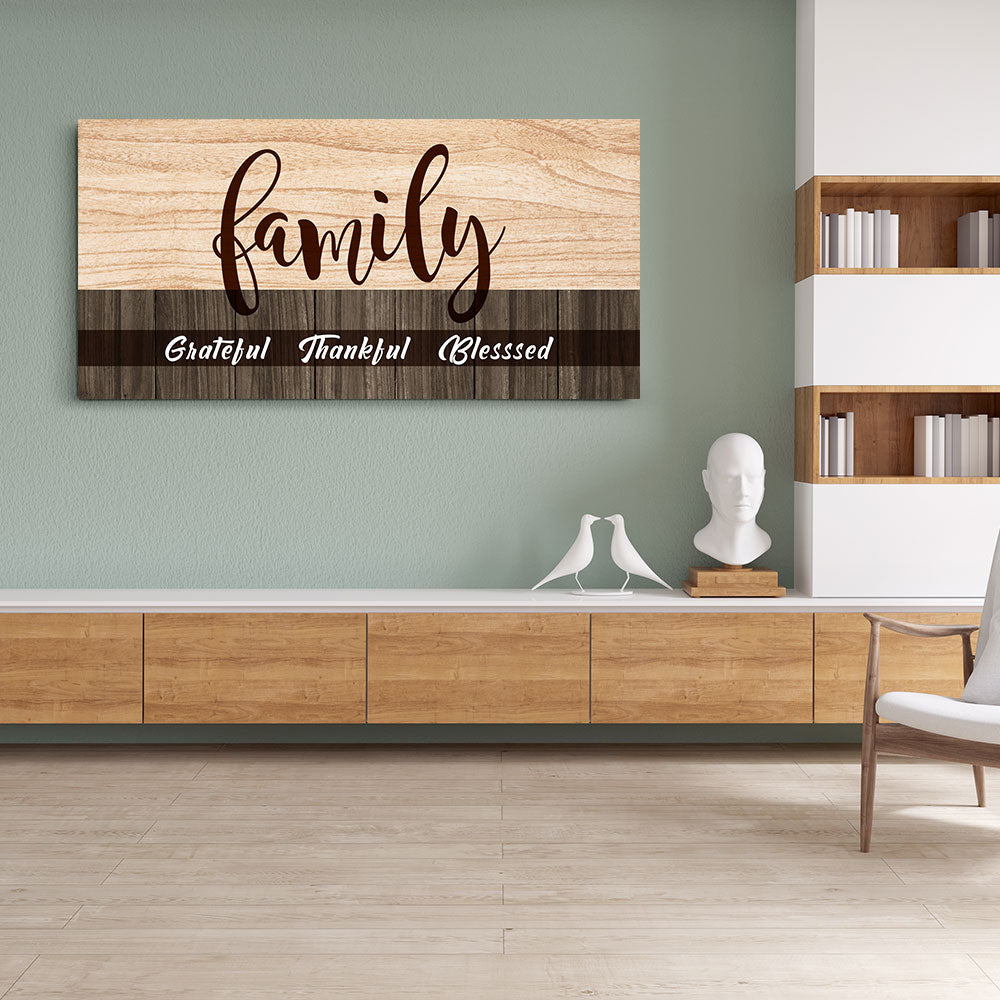 Family Wall Art Grateful Thankful Blessed