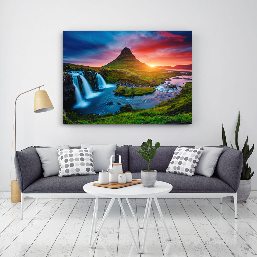 Fantastic Evening with Kirkjufell Volcano Canvas Wall Art
