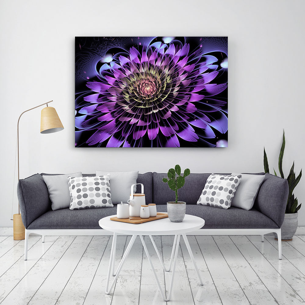 Fantasy Fractal Flower Canvas Wall Art