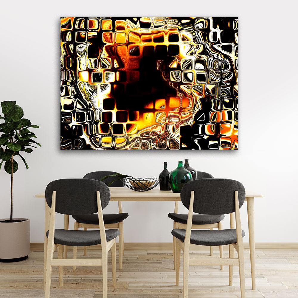 Fiery Drawing Abstract Canvas Wall Art