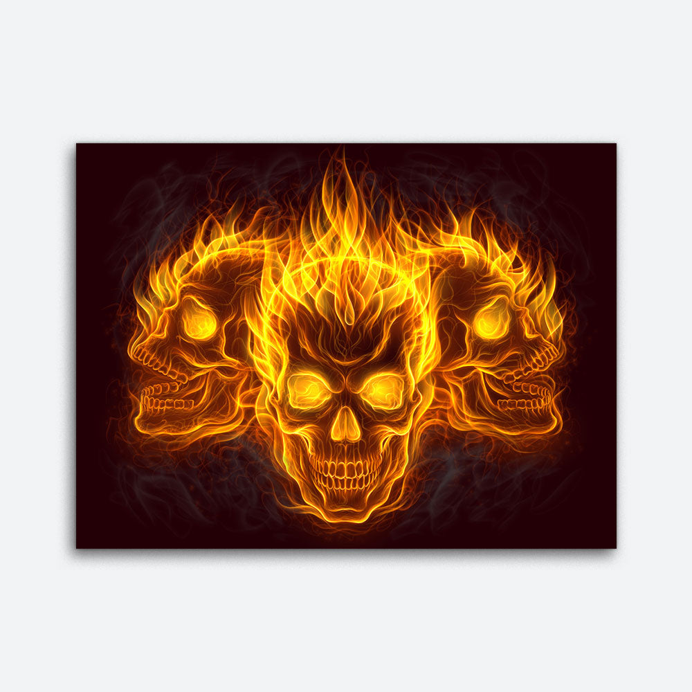 Fire Skulls Abstract Canvas Wall Art