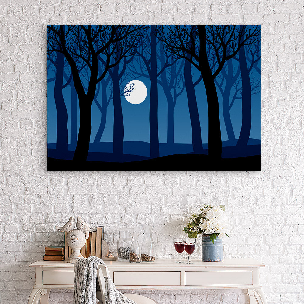 Forest Trees Moon Canvas Wall Art
