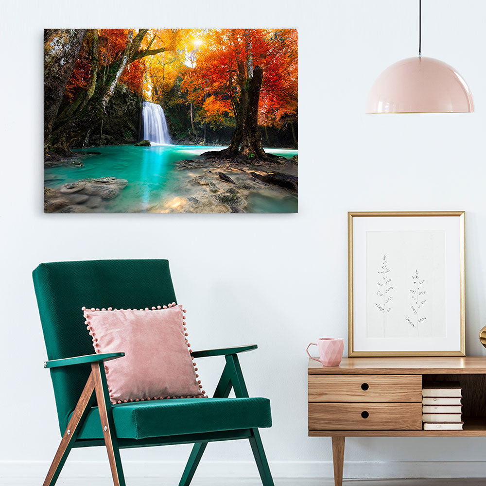 Forest Waterfall Nature Canvas Wall Art