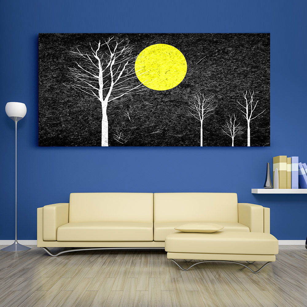 Full Moon Night Abstract Painting Canvas Wall Art