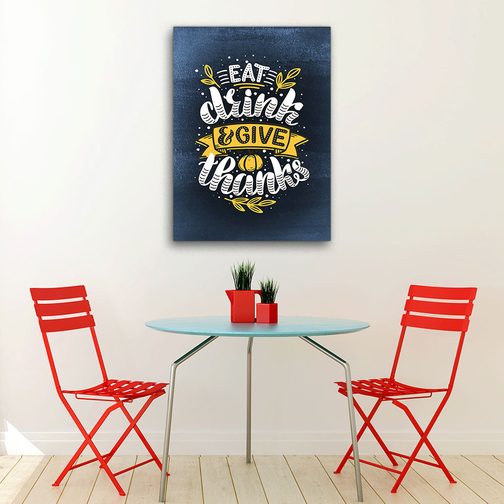 Give Thanks Quote Canvas Wall Art