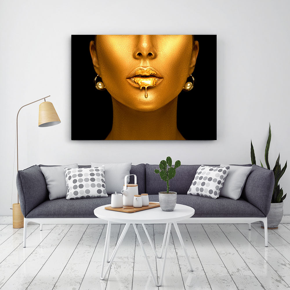 Gold Lips Canvas Wall Art v2