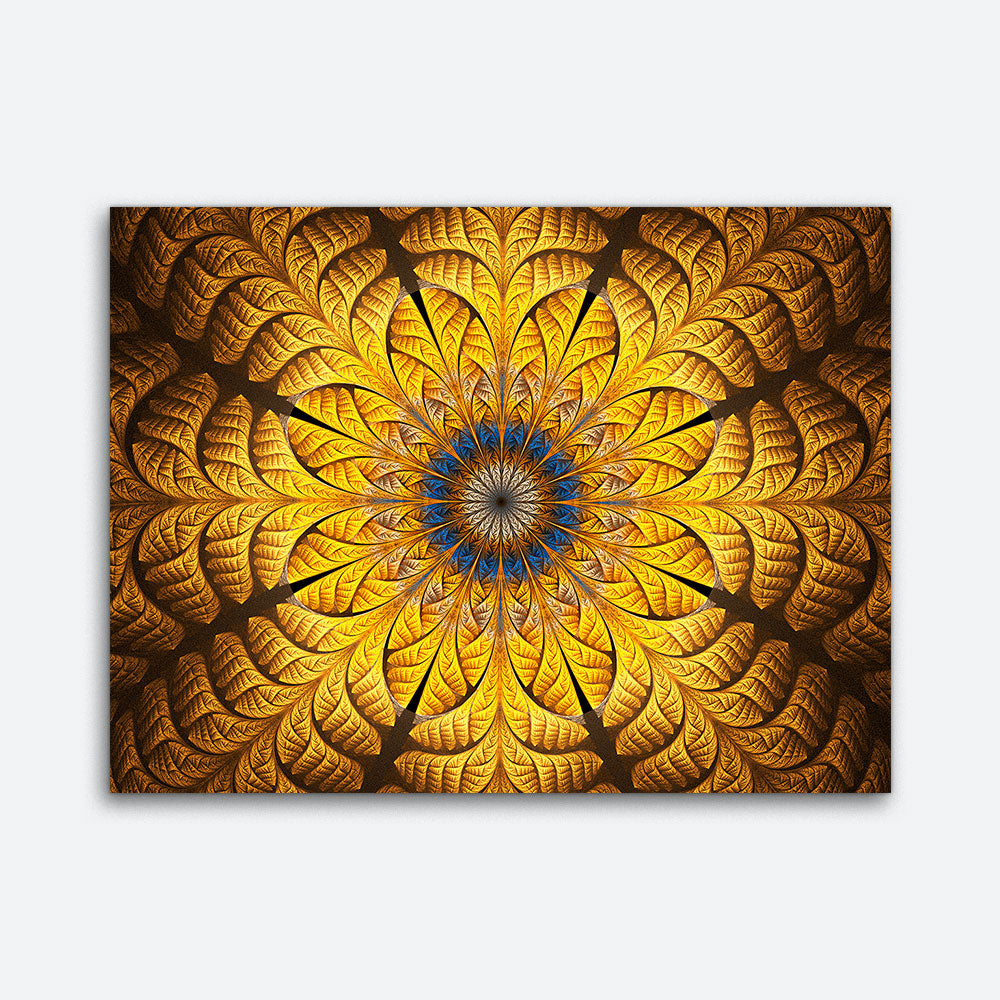Golden Abstract Pattern Floral Canvas Wall Art