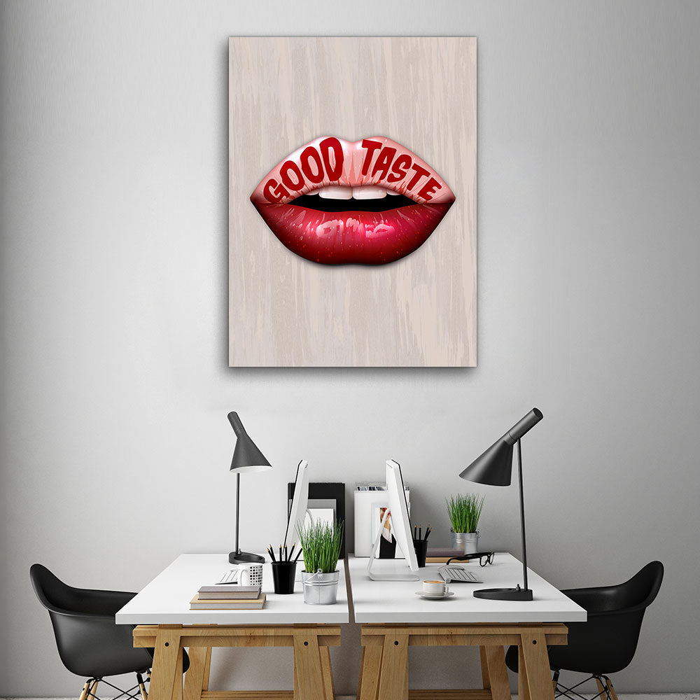 Decorate your walls with Good Taste Lips wall art, canvas prints from Makemyprints!