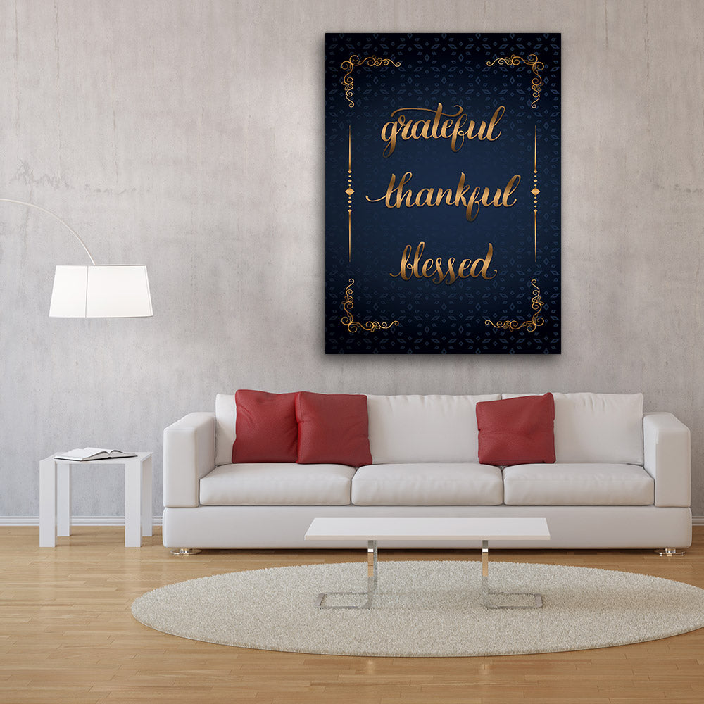 Grateful Thankful Blessed Canvas Wall Art V2