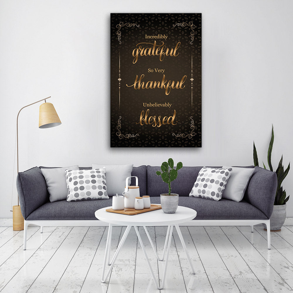Grateful Thankful Blessed Canvas Wall Art