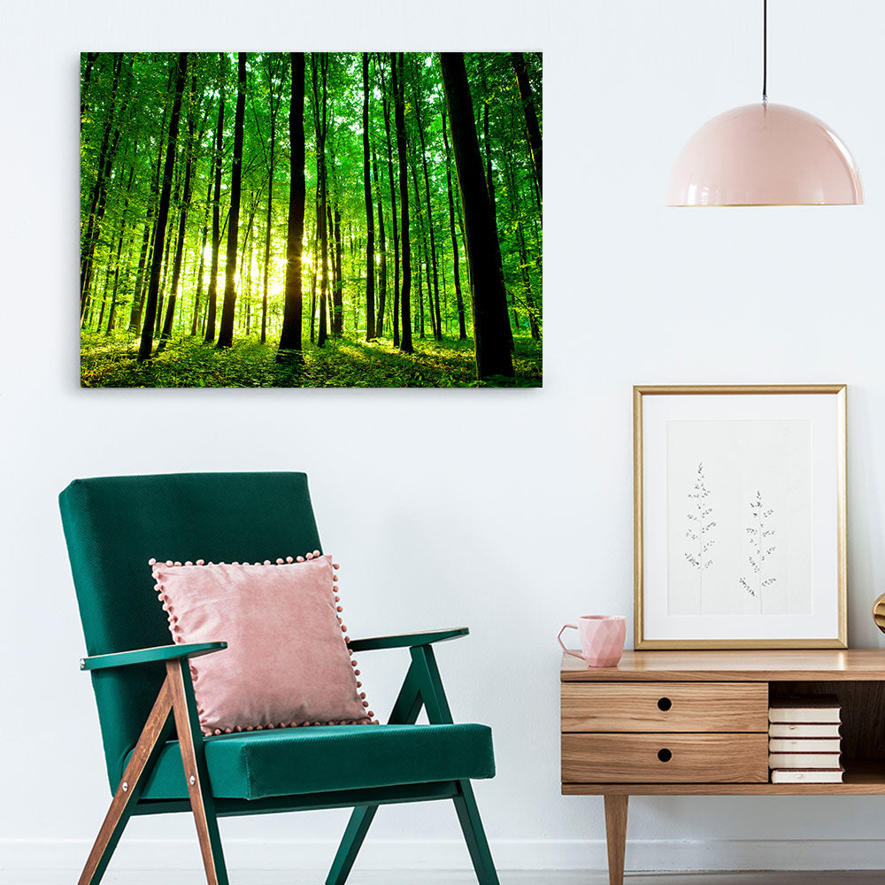 Green Forest Nature Canvas Wall Art