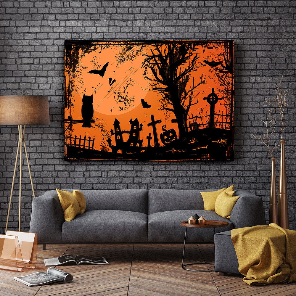 Grunge Halloween Canvas Wall Art