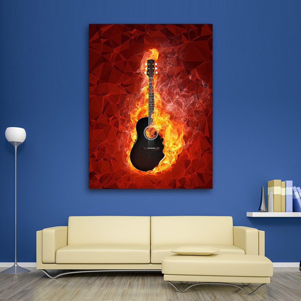 Electric Guitar Fire Abstract Canvas Wall Art