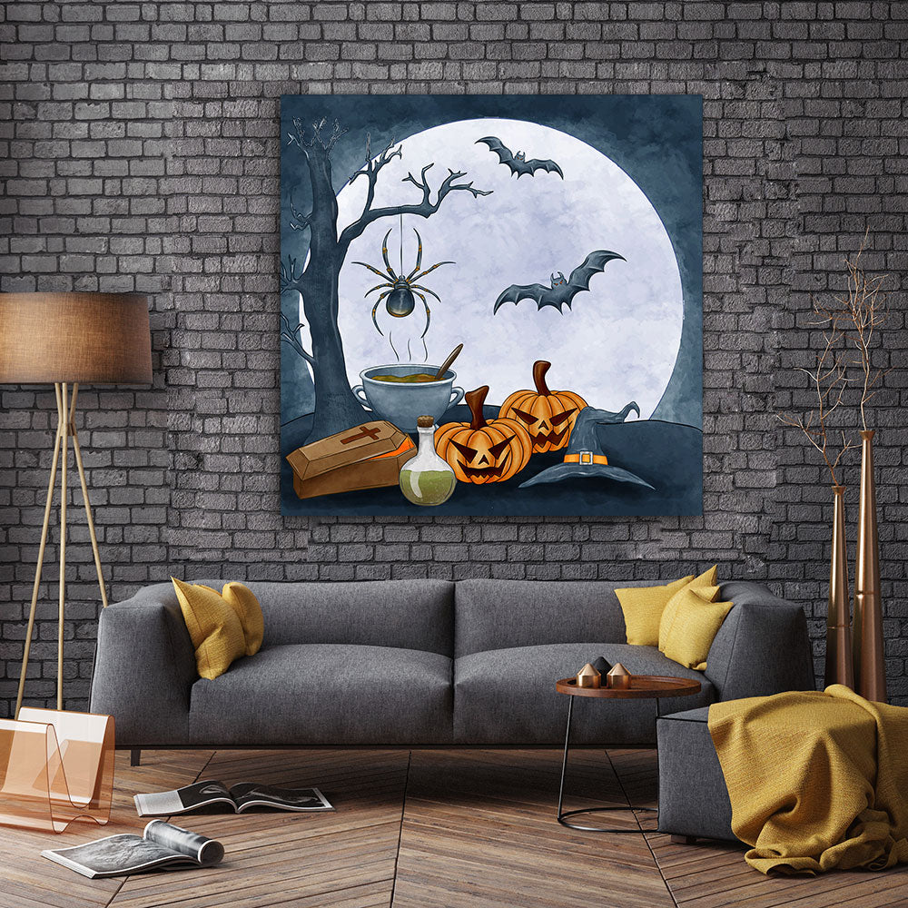 Halloween Pumpkins and Bats Canvas Wall Art
